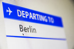 Computer screen close-up of flight to Berlin. Computer screen close-up of status of flight departing to Berlin, Germany Stock Photography