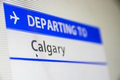 Computer screen close-up of flight to Calgary, Canada Royalty Free Stock Image