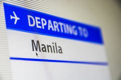 Computer screen close-up of flight to Manila, Philippines Royalty Free Stock Images