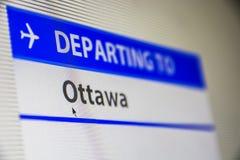 Computer screen close-up of flight to Ottawa, Canada Stock Image