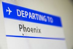 Computer screen close-up of flight to Phoenix royalty free stock photography