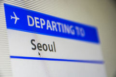 Computer screen close-up of flight to Seoul. Computer screen close-up of status of flight departing to Seoul, South Korea Stock Images