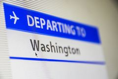 Computer screen close-up of flight to Washington. Computer screen close-up of status of flight departing to Washington, DC, USA Stock Photo