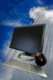 Computer screen in clouds Royalty Free Stock Image