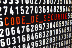 Computer screen with code de securite text and numbers. Horizontal Stock Image