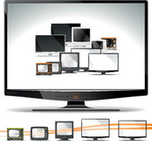 Computer Screen Collection - CRT, Plasma, LCD, LED. Vector collection of computer displays, as their design and performance evolved. AI8 vector file included Two royalty free illustration