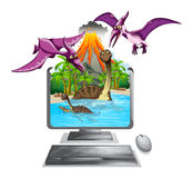 Computer screen with dinosaurs in the lake Stock Image