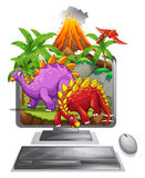 Computer screen with dinosaurs and volcano Royalty Free Stock Image