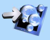 Computer screen and earth. Conceptual illustration of a computer screen with lots of earth globes emerging in 3d covered. Isolated on a white background Stock Images