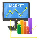 Computer Screen with Graphic of Success on Market. And colorful chart on coordinate system isolated vector illustration on white background Royalty Free Stock Images