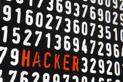Computer screen with hacker text on black background Stock Photo