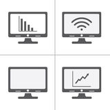 Computer screen icons, each icon is a single object (group path) Royalty Free Stock Images