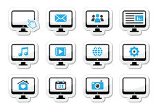 Computer screen icons set as labels Stock Photo