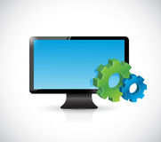 Computer screen and industrial symbol gears. Royalty Free Stock Photo