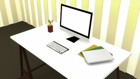 Desk office. Computer screen and keyboard on desk office Royalty Free Stock Image