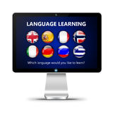 Computer screen with language learning page  over white Stock Photos