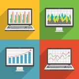 Computer screen and laptop flat design icons with financial charts and graphs. Vector illustration Royalty Free Stock Images
