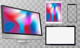 Computer Screen, Laptop, Tablet PC, Smart Phone Vector illustration. stock illustration