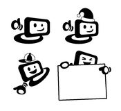 Computer screen mascot. A computer screen mascot in different actions/stance Royalty Free Stock Photography