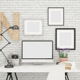 Computer Screen Mock Up And Photo Frames Mock Up In Contemporary And Modern Office Royalty Free Stock Photos