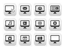 Computer screen modern grey buttons set Royalty Free Stock Photo