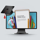 Computer screen notepad graduate cap pencil vector Stock Image