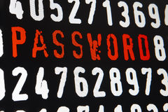 Computer screen with password text and numbers on black backgrou Royalty Free Stock Image