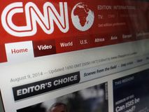 Computer screen showing cnn news front page on internet Royalty Free Stock Photography