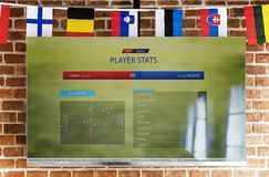 Computer screen showing player statistic Stock Photo