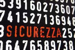 Computer screen with sicurezza text on black background Royalty Free Stock Photos
