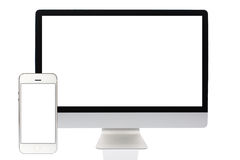 Computer screen and Smartphone Royalty Free Stock Photos