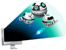 Computer screen with spaceship flying out Royalty Free Stock Photos