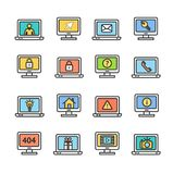 Computer Screen Symbols with Signs Color Thin Line Icon Set. Vector. Computer Screen Symbols with Signs Color Thin Line Icon Set Include of Email, Key, Gift Royalty Free Stock Photography