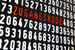Computer screen with zugangskode text and numbers on black backg Royalty Free Stock Photography
