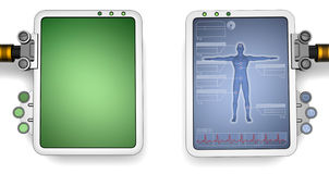 Computer screens. Two versions of a futuristic computer screen, one blank, the other medical related Stock Photography