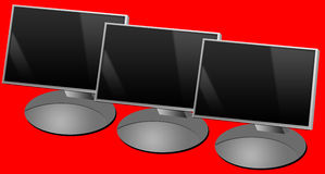 Computer screens. Computer flat screens lined up (copy space provided on the screens Royalty Free Stock Images