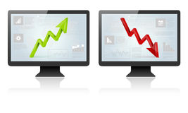 Computer screens with green and red 3D arrow Royalty Free Stock Images