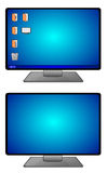 Computer Screens. Illustration of computer screens, one with desktop icons and one without icons Royalty Free Stock Image