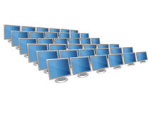 Computer screens in row. Illustrated large group of computer monitors Royalty Free Stock Photography