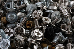 Computer screws, bolts and nuts Royalty Free Stock Photos