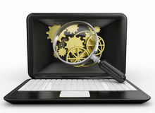 Computer search or system update. Laptop magnifier and gold wheel. computer repairing or system programming concept. 3d render Stock Photography