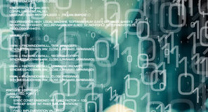 Computer secure, cybersecurity in cyber space green abstract background Stock Photo