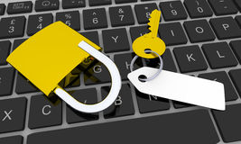 Computer security. Golden key with blank tag and golden padlock on keyboard Stock Photo