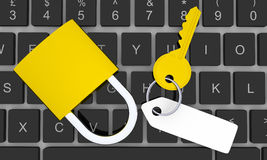 Computer security. Top down view of a golden key with blank tag and golden padlock on keyboard Royalty Free Stock Photography