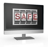 Computer security. One computer monitor with a combination lock and the word: safe (3d render Stock Images