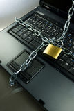Computer security. Strong Security Lock & Chain on PC keyboard Royalty Free Stock Photography