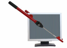 Computer Security. A car steering lock which appears to be used to lock a computer monitor. Clipping paths for the monitor's unobstructed screen and the entire