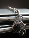 Computer Security. Two laptop computers with chain and combination lock Royalty Free Stock Photography