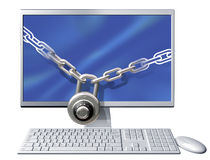 Computer security. Isolated illustration of a computer secured with a large chain and padlock Stock Photos