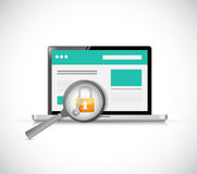 Computer security check concept illustration Stock Photos